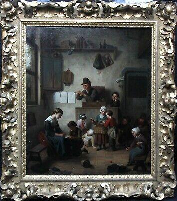 FERDINAND DE BRAEKELEER FLEMISH 19thC ART INTERIOR GENRE OIL PAINTING SCHOOLROOM