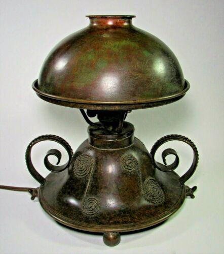Riviere Studios Art Nouveau Arts & Crafts Boudoir Lamp w/Turtle Feet ca.1900's