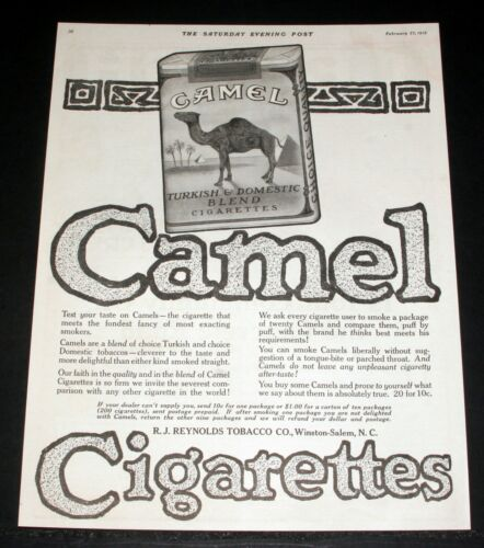 1915 OLD MAGAZINE PRINT AD, REYNOLDS, CAMEL TURKISH & DOMESTIC BLEND CIGARETTES!