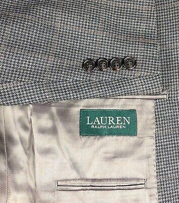 Ralph Lauren Silk Wool Blend Mens Blazer Sport Coat Size 44 R Houndstooth Blend Mens Sport Coat