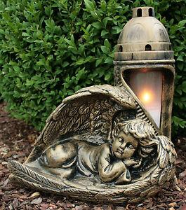 Engel Grablaterne Grablampe Bronze Grableuchte 29cm Massiv Grablicht Grabschmuck