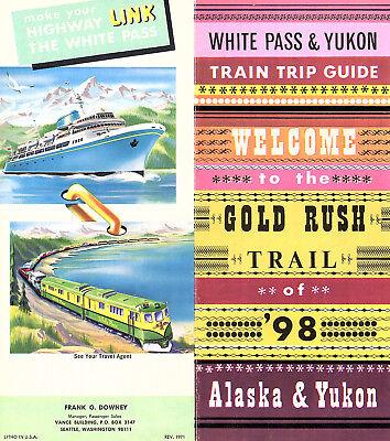White Pass   Yukon Train Trip Guide Vintage 1971 Alaska Travel Brochure Map