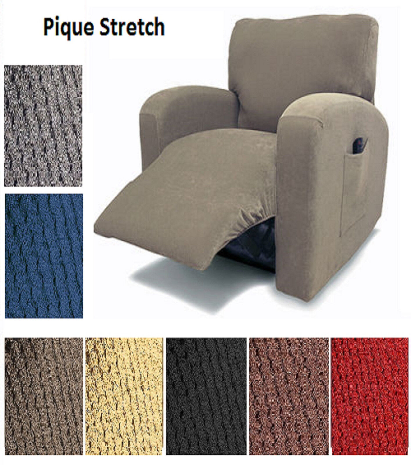 Pique Stretch Fit Furniture Chair Recliner Lazy Boy Cover Sl