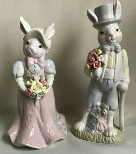 Porcelain Victorian Style Pastel Mr & Mrs Rabbit Easter Figurines