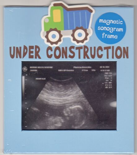 """Sonogram Magnetic Frame By Baby Essentials, Blue, """"Under Construction"""",Brand New"""
