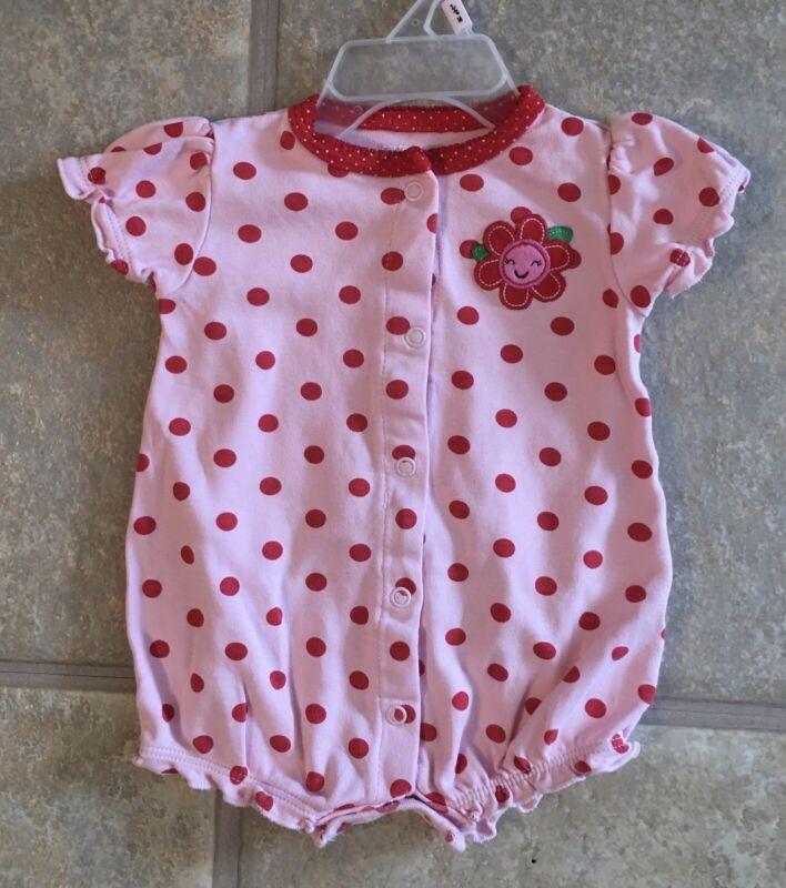Carter's Girl's Size 3 Months Pink & Red Polka Dot Romper Flower On The Backside