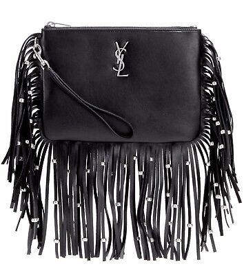 YSL Yves Saint Laurent Monogram Black Leather Fringe Beaded Pouch Bag Clutch