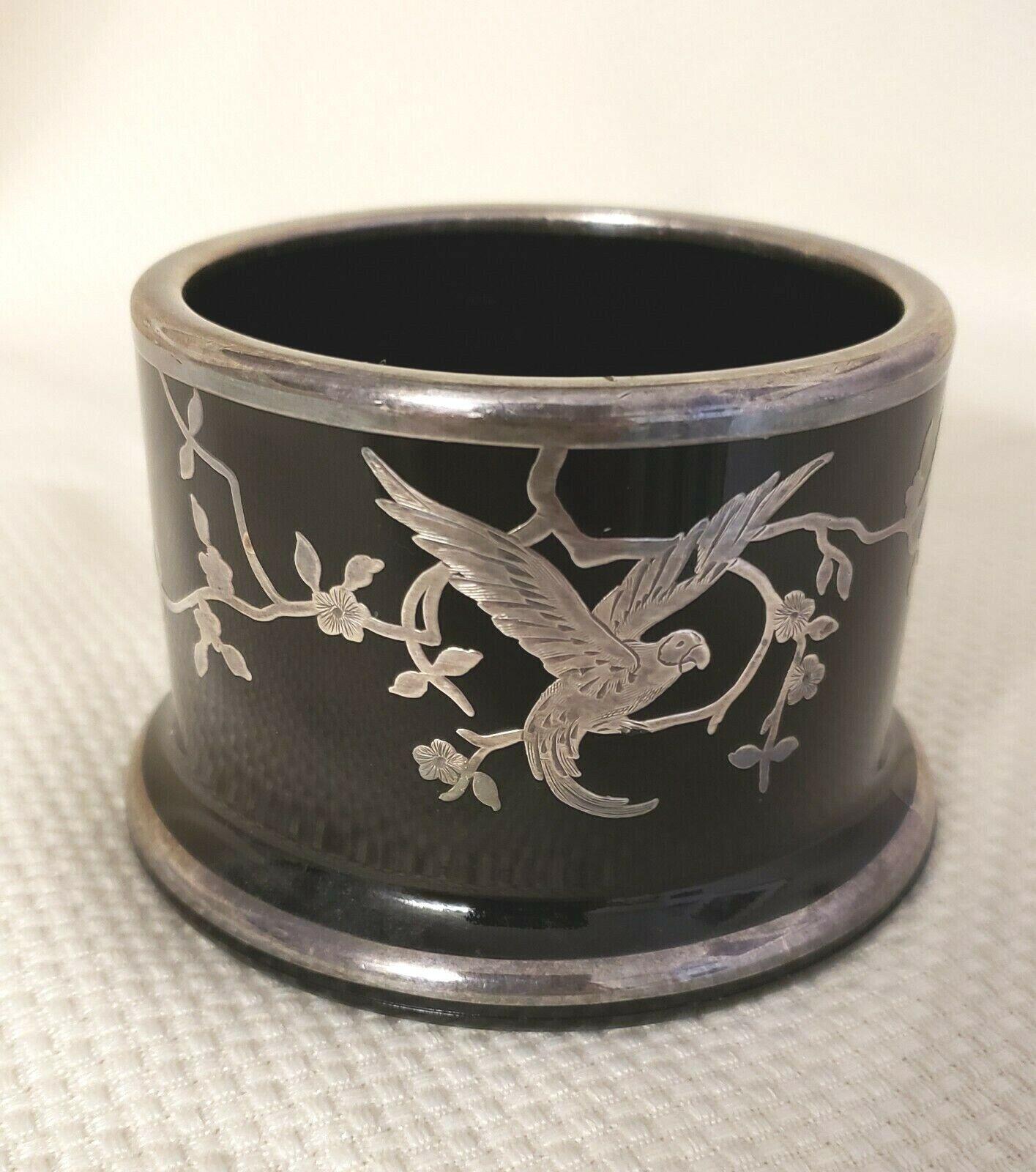 Art Deco Rockwell Silver Overlay Black Glass Vase/Holder Macaw Parrot 32B - $45.00