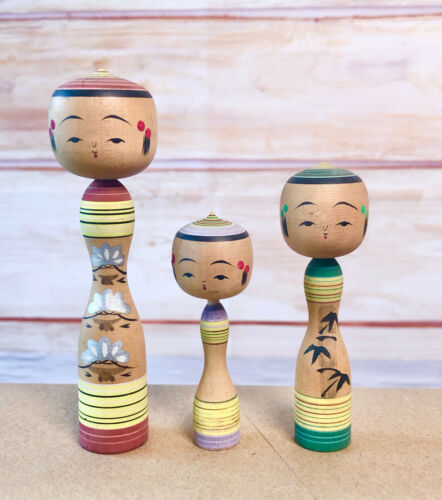 Set of 3 Small Size Kokeshi Dolls with pointed head
