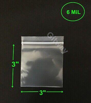 3 X 3 Heavy Duty 6 Mil Resealable Ziplock Zip Lock Bag 3x3 6 Ml Plastic Bags