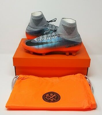 Nike Mercurial Superfly V CR7 FG Soccer Cleats(Sz 9.5)Grey/Metallic Silver/Orang
