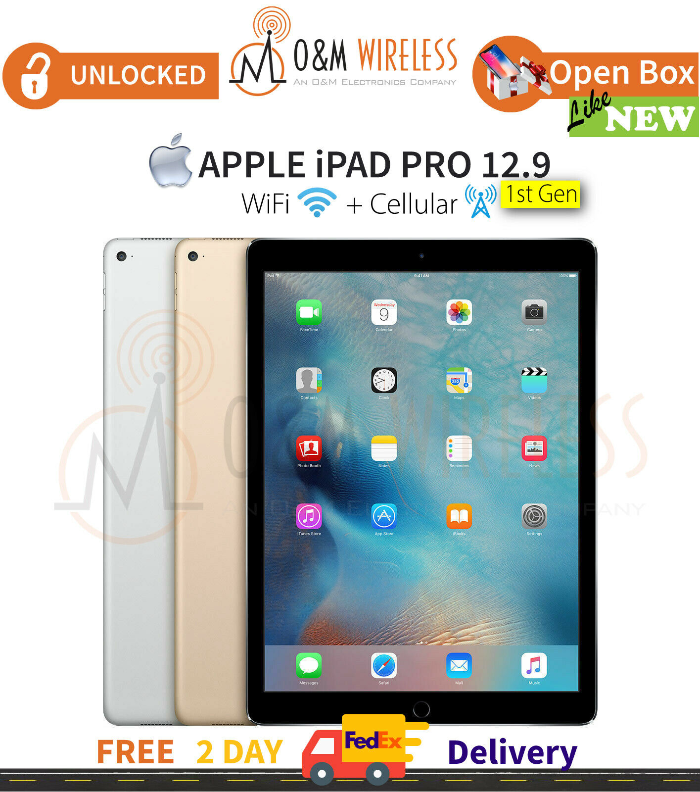 """New Other Apple iPad Pro 12.9"""" 1st Gen 128/256GB (WiFi + Cellular) All Colors"""