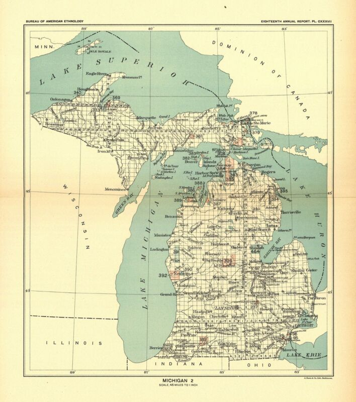 1896 map Michigan 2 United States Indian land cessions POSTER 30