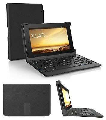 Keyboard Tablet Case 7 Inch Folio Protect Bluetooth Travel Carrying Holder Black