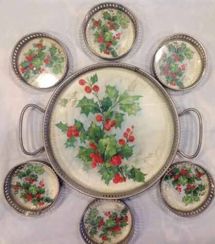 Antique Christmas Tray with Coasters