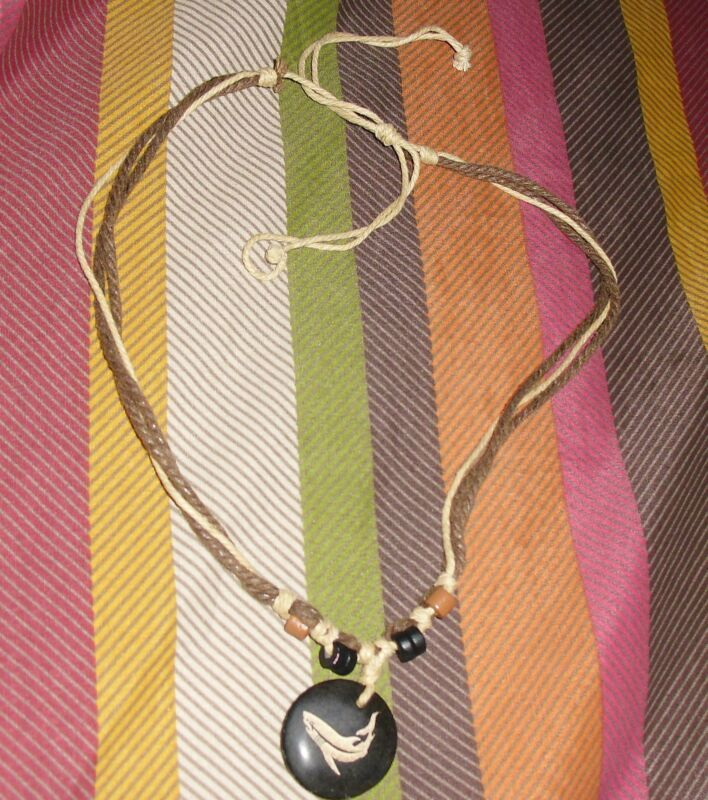 Shark Necklace, Adjustable rope with round painted shark medallion,approx 9 inch