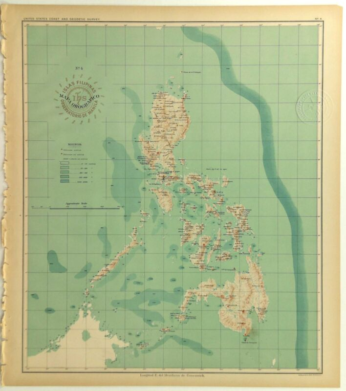 1899 Official US Navy Map Philippine Islands Volcano Orographical Topography