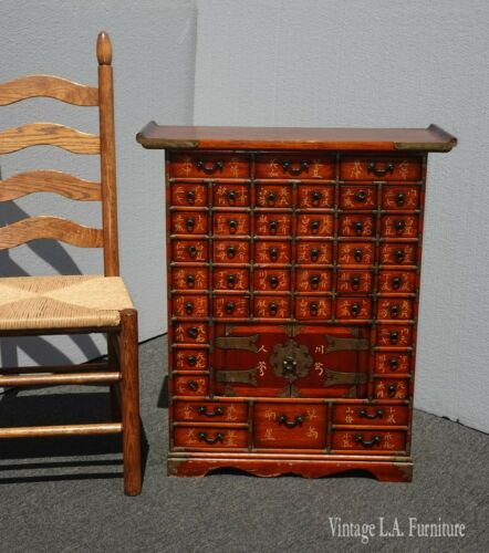 Vintage Oriental Asian Red Apothecary Cabinet Chest w 44 Drawers and Storage