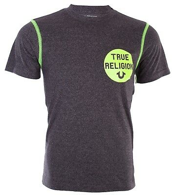 TRUE RELIGION Men T-Shirt HEATHER CREW Washed Black Neon Stitching $79 Jeans NWT