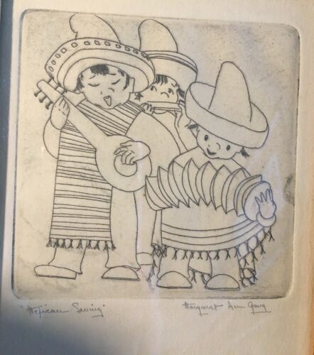 VINTAGE MARGARET ANN GAUG (1909 -94) CHICAGO ARTIST MEXICAN BAND ETCHING