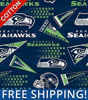 Seattle Seahawks Retro NFL Cotton Fabric - 60