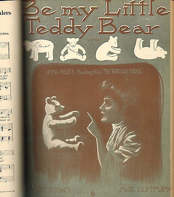 Antique 1900 PRIVATELY Bound Sheet Music Book THEATRE Black Americana TEDDY BEAR