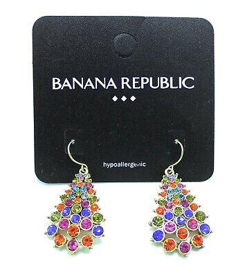 New Multi Color Rhinestone Drop Earrings by Banana Republic NWT #B6 Multi Color Rhinestone Earrings