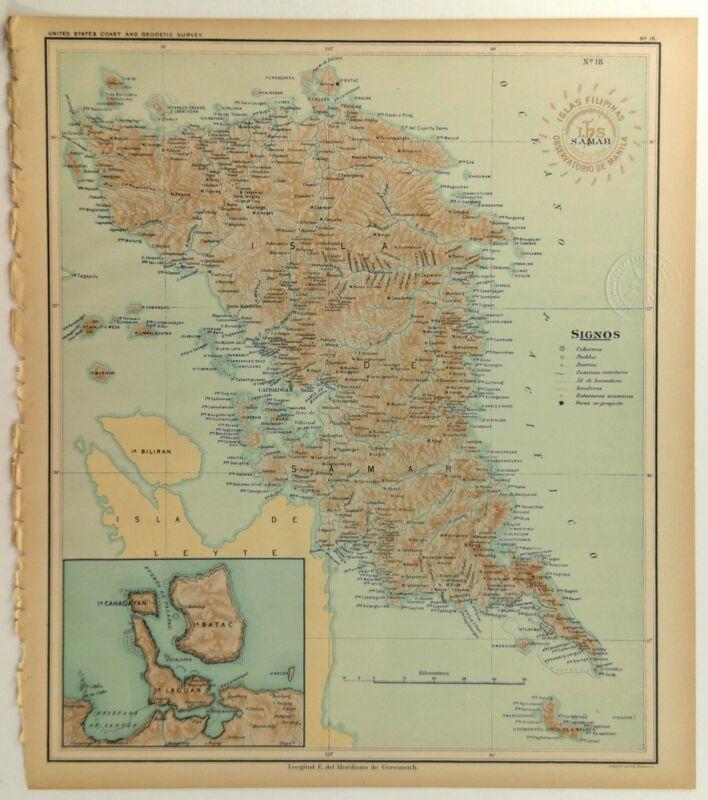 1899 Official US Navy Map Philippine Islands Isla Samar Batac Laguan Cahagayan