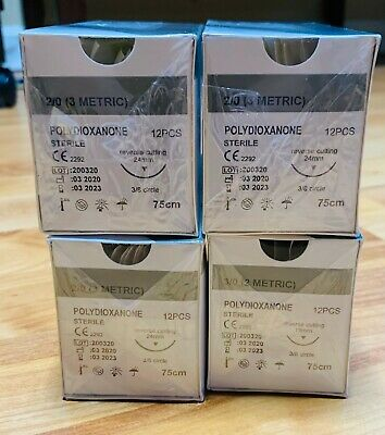 Veterinary Suture 20 Pdspdo 4 Boxes12box Polydioxanone Reverse Cutting 24mm