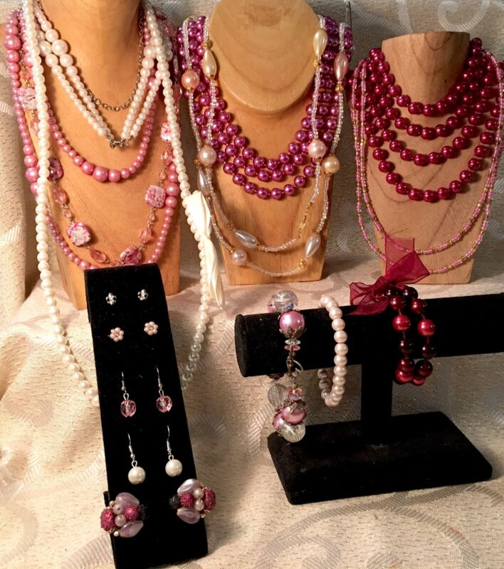 PINK/IVORY/'PEARL' Bead Strand FLAPPER Necklaces*Earring Jewelry Lot•Vtg-Now a31