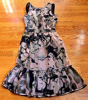 New D&G Dolce & Gabbana Pink Black Floral Print Silk Ruffle Dress US 0 2 / IT 40