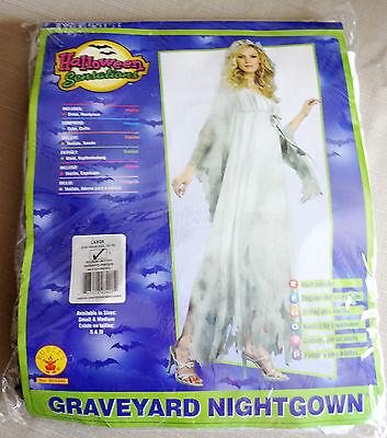Adult Halloween Costume Graveyard Nightgown Zombie Bride Dress White Women Large (Graveyard Bride Costume)