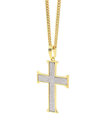 Gothic Gold Plated (vMens 14k Gold Plated Stardust Gothic Cross Pendant Hip-Hop 30