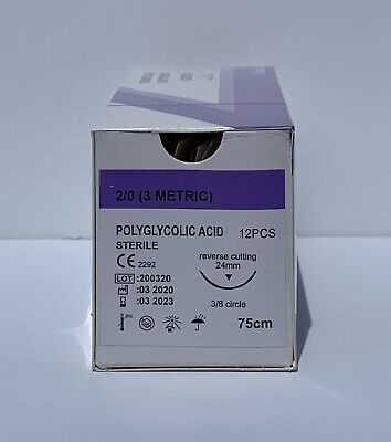 Veterinary Surgical Suture 20 Pga 12ct Polyglycolic Acid Reverse Cutting 24mm
