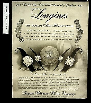 1956 Longines-Wittnauer 90th Anniversary Watches Vintage Print Ad 8380