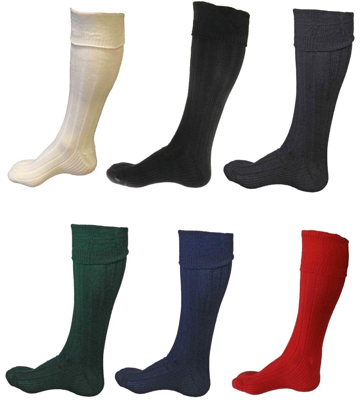 New Scottish Irish  Kilt Hose Socks Men Sporrans Flashes In SIX Colors