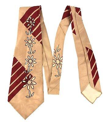 1950s Men's Ties, Bow Ties – Vintage, Skinny, Knit Vintage Tan Pink Red 1950s Modernist Necktie Tie Stripes Large Flowers 50x4