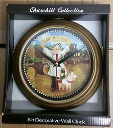 Plastic Decorative Wall Clock, 8, FAT CHEF WITH PIG, WINE TASTING