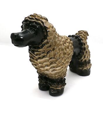Vintage Pottery Poodle Dog Figure Black & Gold - Large Poodle Figure