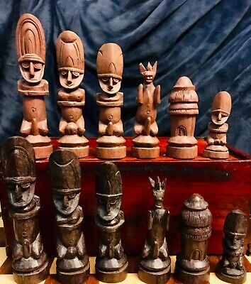 "Vtg African Hand Carved Wood Yoruba Ethnographic Chess Set Table Box 4.25"" K African Game Table"
