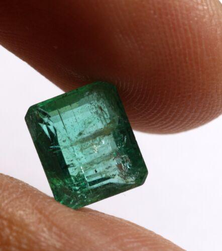 1.90 Ct Deep Green Color Natural Emerald Unheated Transparent Zambia Gem Loose