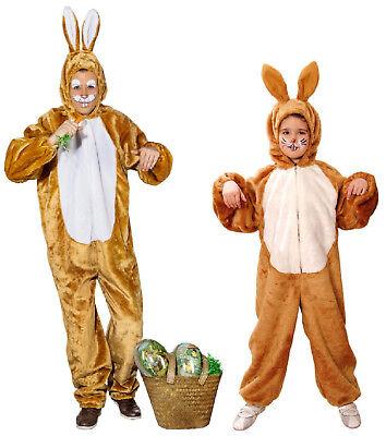 Hase Bunny Hasen Häschen Kostüm Overall Tier Kinder Braun Plüsch - Häschen Kinder Kostüm