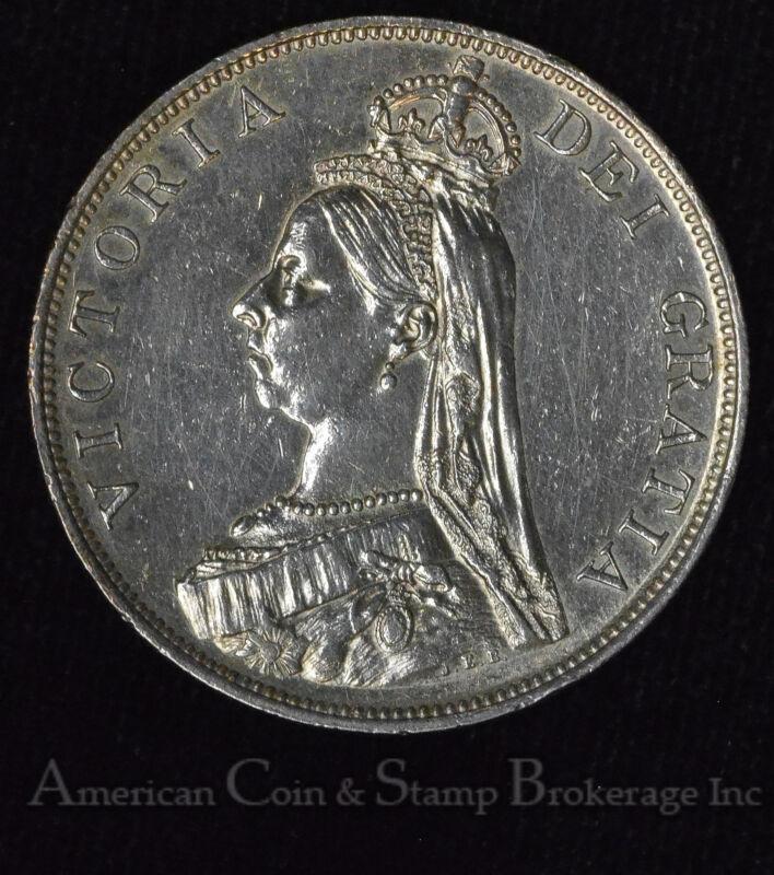 Great Britain Double Florin 1889 AU silver KM#763 2F Queen Victoria