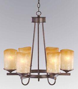 6 Light Rustic Iron Candle Round Veranda Chandelier