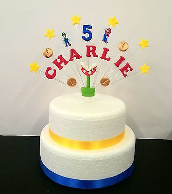 Super mario and luigi theme birthday cake topper,  personalised name and age - Mario And Luigi Birthday