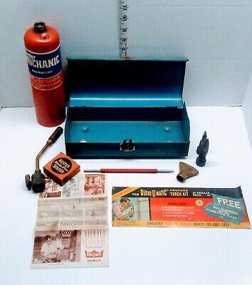 Vintage BERNZ-O-MATIC JET Torch Metal Box Original Manual Soldering 3 Tips MM