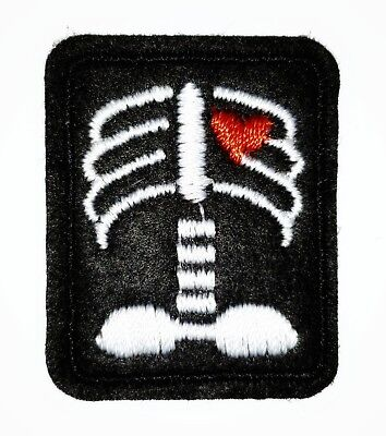 X Ray Patch Tech Heart Iron On Applique 1.18 X 1.41