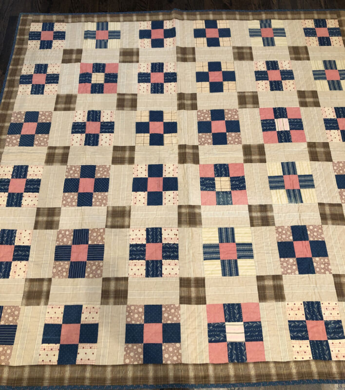 Great 19th C. Hand Stitched Block Quilt