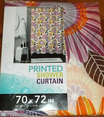 FLORAL PRINTS FABRIC SHOWER CURTAIN   70