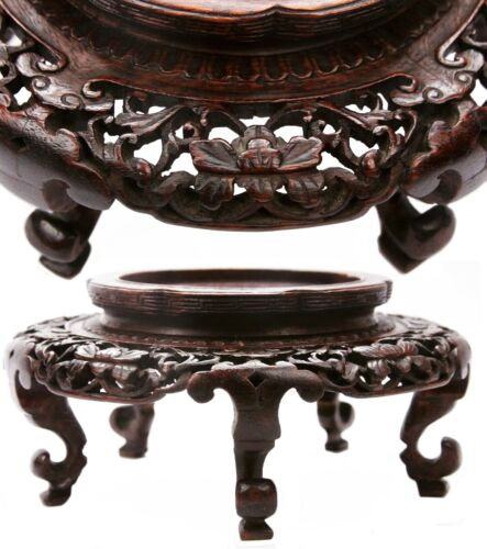 Antique High Quality Chinese Carved Wooden Stand Damaged Wood Bronze Vase Stand
